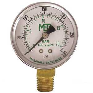 MEC MEJ600-02 Dial Dry Pressure Gauge 0-300 psi, Brass Bottom Mount 1/4 in. MNPT, 2 in. Steel Case
