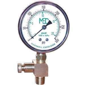 MEC MEJ603HP High Pressure Test Gauge Kit 0-300 psi, Liquid Filled, 1/4 in. MNPT Bottom Mount, Includes Bleeder