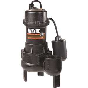 WAYNE Water Systems RPP50 1/2 HP Cast Iron Sewage Pump with Tether Float Switch