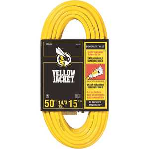 YELLOW JACKET 2887 50 ft. 14/3 SJTW Outdoor Medium-Duty Extension Cord with Power Light Plug