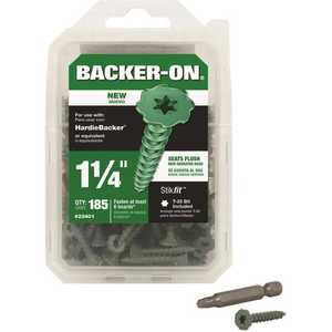 Backer-On 23401 #9 x 1-1/4 in. Serrated Flat Head Star Drive Cement Board Screws - pack of 185