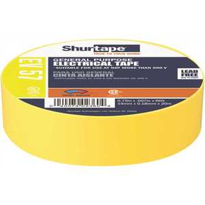 Shurtape 200788 EV 57 General Purpose Electrical Tape, UL Listed, YELLOW, 7 mils, 3/4 in. x 66 ft. []