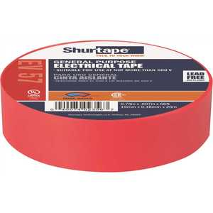 Shurtape 200784 EV 57 General Purpose Electrical Tape, UL Listed, RED, 7 mils, 3/4 in. x 66 ft. []