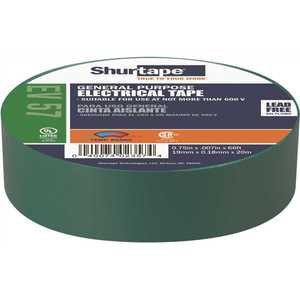 Shurtape 200785 EV 57 General Purpose Electrical Tape, UL Listed, GREEN, 7 mils, 3/4 in. x 66 ft. []