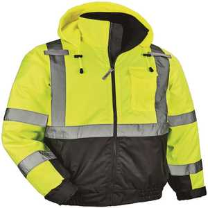 GloWear 8377 Men's Small Lime High Visibility Reflective Quilted Bomber Jacket