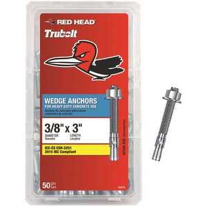 Red Head 03014 3/8 in. x 3 in. Steel Hex-Nut-Head Wedge Anchors