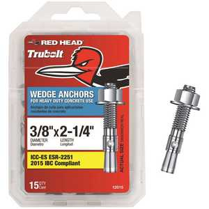 Red Head 12015 3/8 in. x 2-1/4 in. Zinc-Plated Steel Hex-Nut-Head Solid Concrete Wedge Anchors - pack of 15