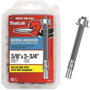 Red Head 12016 3/8 in. x 3-3/4 in. Concrete Wedge Anchor - pack of 15