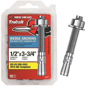 Red Head 12017 1/2 in. x 3-3/4 in. Zinc-Plated Steel Hex-Nut-Head Wedge Anchors - pack of 10