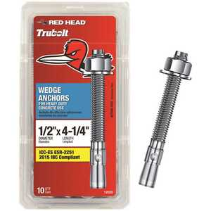 Red Head 12020 1/2 in. x 4-1/4 in. Steel Hex-Nut-Head Concrete Wedge Anchors