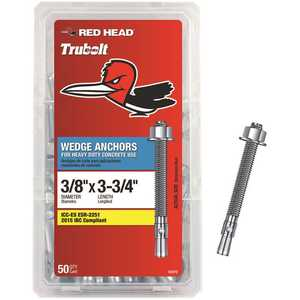 Red Head 12370 3/8 in. x 3-3/4 in. Zinc Plated Steel Hex-Nut-Head Concrete Wedge Anchors