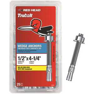 Red Head 12372 1/2 in. x 4-1/4 in. Zinc-Plated Steel Hex-Nut-Head Solid Concrete Wedge Anchors - pack of 25