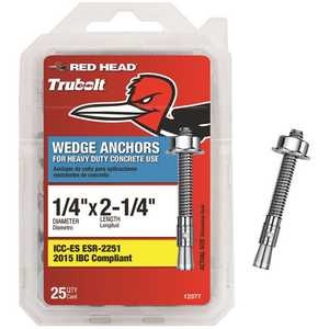 Red Head 12377 1/4 in. x 2-1/4 in. Zinc-Plated Steel Hex-Nut-Head Solid Concrete Wedge Anchors - pack of 25