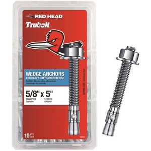 Red Head 12310 5/8 in. x 5 in. Zinc Plated Steel Hex-Nut-Head Solid-Concrete Wedge Anchors - pack of 10