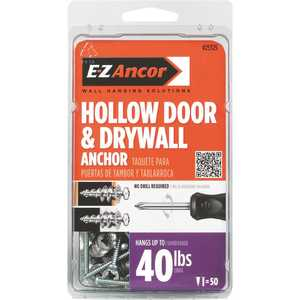 E-Z Ancor 25325 1 in. Hollow Door and Drywall Anchors - pack of 50