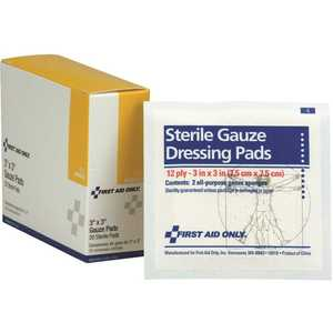 First Aid Only, Inc I211 3 in. x 3 in. Sterile Gauze Pads - pack of 20