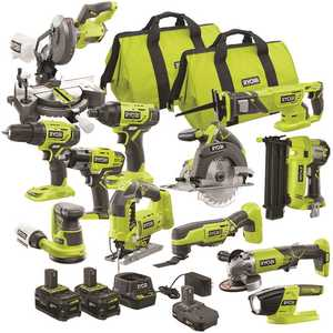 RYOBI PCK850KN ONE+ 18V Cordless 12-Tool Combo Kit with 3 Batteries and Charger