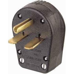 Leviton R55-00931-00E 30 Amp/50 Amp 2-Pole/3-Way Grounded Angle Straight Blade Plug, Black