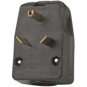 Leviton R55-00830-00E 30 Amp 125-Volt 2-Pole Angle Travel Trailer Plug, Black