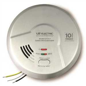 USI Electric MIC1509S-6P 3-in-1 Hardwired Smoke, Fire and CO Alarm Detector 10-Year Sealed Battery, Photoelectric and Ionization - pack of 6