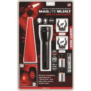 Maglite ML25LT-J201G Roadside Safety Pack with Traffic Wand, Mounting Brackets and Batteries