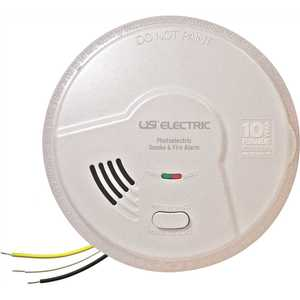 USI Electric MP116S-6P Hardwired Combination 2-in-1 Photoelectric Smoke and Fire Alarm Detector, 10-Year Sealed Battery Backup - pack of 6
