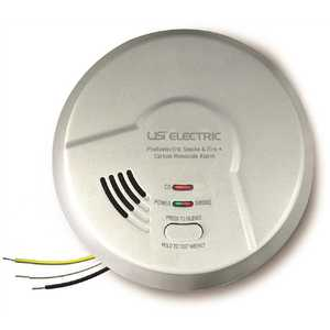 USI Electric MPC122S-6P Hardwired Combination Photoelectric Smoke and Carbon Monoxide Alarm Detector, 10-Year Sealed Battery Back-Up - pack of 6