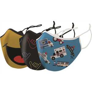 TAGCO USA, INC EF-3ATLKFM Two-Layer Reusable Kids Face Mask with Adjustable Earloop- (12 total) - pack of 3