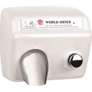WORLD DRYER A5-974AU Cast Iron/White Porcelain Enamel, Push Button Electric Hand Dryer