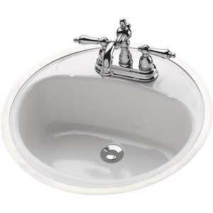 Bootz Industries 021-2440-00 Daffodil Oval Flat-Rim Drop-In Bathroom Sink in White