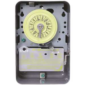 Intermatic T104D89 T100 Series 40 Amp 24-Hour Indoor Mechanical Timer with Double Pole Single Throw Switching 240 VAC, Gray