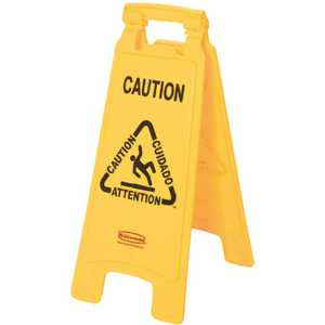 Rubbermaid FG611200YEL Multi-Lingual 2-Sided Caution Wet Floor Sign