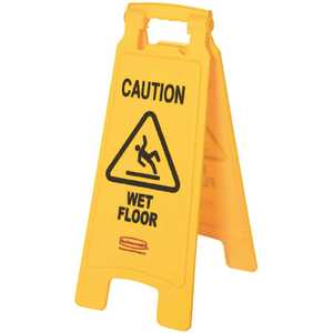 Rubbermaid FG611277YEL 25 in. x 11 in. Plastic 2-Sided Caution Wet Floor Sign