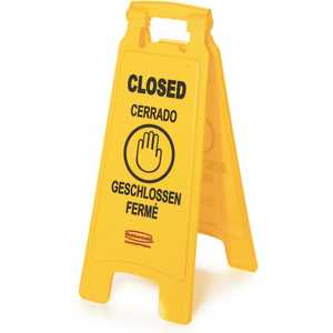 Rubbermaid FG611278YEL 25 in. Plastic Multi-Lingual 2-Sided Closed Sign