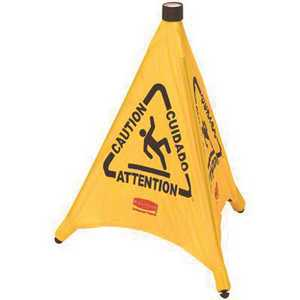 Rubbermaid FG9S0100YEL 30 in. Safety Pop-up Multi Lingual Caution Cone in Yellow