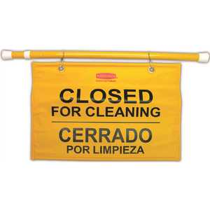 Rubbermaid RCP9S1600YL Tri Safety Caution Sign - Closed for Cleaning