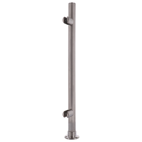 C.R LAURENCE PP56EBS CRL Brushed Stainless 18 High 1 Round PP56 Slimline Series Straight Front Counter//Partition End Post