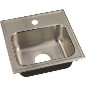 JUST MANUFACTURING SL-1515-A-1 18-Gauge Stainless Steel 15 in. x 15 in. 1-Hole Single Bowl Drop-In Bar Sink with Faucet Ledge