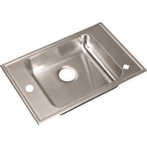 17 in. x 25 in. Drop-In Stainless Steel 1-Compartment ADA L/R Faucet Ledge Classroom Sink 6.5 in. Deep Drain Center Rear
