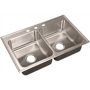 18-Gauge Stainless Steel 19 in. x 33 in. Double Bowl Drop-In Standard Depth Kitchen Sink with Faucet Ledge
