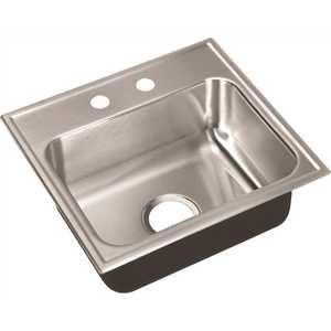 18-Gauge Stainless Steel 16 in. x 17 in. 2-Hole Single Bowl Drop-In Bar Sink with Faucet Ledge