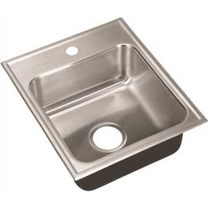 JUST MANUFACTURING SL-2017-A-1 18-Gauge Stainless Steel 20 in. O.D. x 17 in. 1-Hole Single Bowl Drop-In Kitchen Sink with Faucet Ledge