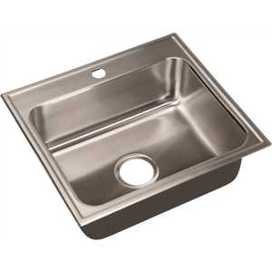 JUST MANUFACTURING SL-2125-A-1 18-Gauge Stainless Steel 21 in. O.D. x 25 in. 1-Hole Single Bowl Drop-In Kitchen Sink with Faucet Ledge