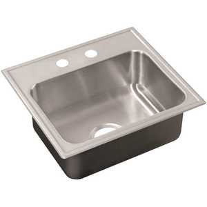 18-Gauge Stainless Steel 22 in. O.D. x 25 in. 2-Hole Single Bowl Drop-In Kitchen Sink with Faucet Ledge