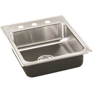 18-Gauge Stainless Steel 20 in. O.D. x 19 in. 3-Hole DCR Single Bowl ADA Drop-In Kitchen Sink with Faucet Ledge