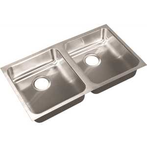 JUST MANUFACTURING UD-ADA-1832-A-5-5-DCR 18 in. I.D. x 32 in. x 5.5 in. 2-Bowl Undermount Sink ADA 18-Gauge Stainless Steel 2-Compartment DCR