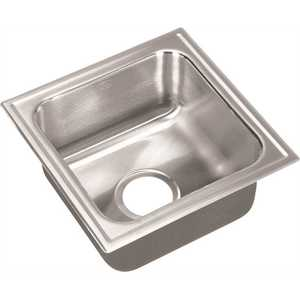 JUST MANUFACTURING S-1515-A 18-Gauge Stainless Steel 15 in. O.D. x 15 in. Single Bowl Drop-In Kitchen Sink with Self-Rimming Ledge