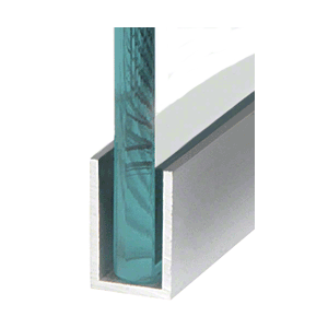 """CRL WU1BSASL Brushed Stainless Anodized Wet Glaze 1-1/2"""" Deep U-Channel 120"""" Stock Length"""