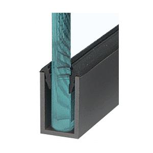 "CRL WU1BLSL Black Powder Coat Wet Glaze 1-1/2"" Deep U-Channel 120"" Stock Length"