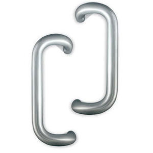 "International Door Closers PH-4000-2-9-AL International 9"" Solid Aluminum Offset Pull Set For Storefront Doors Anodized Dull Aluminum"
